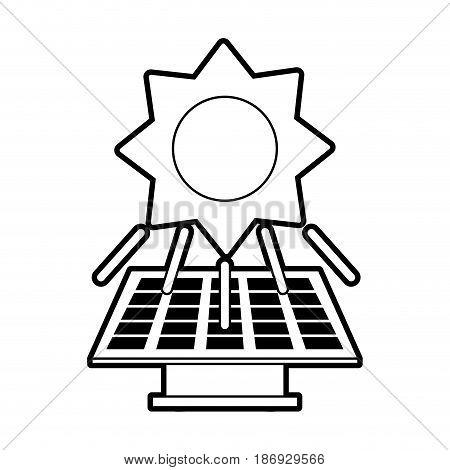 sketch silhouette image solar energy panel vector illustration