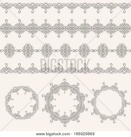 Set collection of borders and round frames in calligraphic retro style isolated on beige background. Can be used for decorate cards invitations menu. Vector illustration