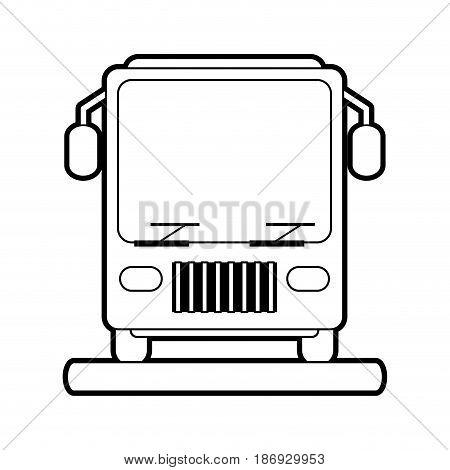 sketch silhouette image front view public service bus vector illustration