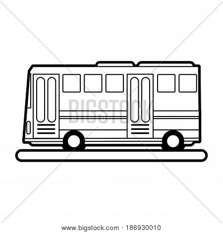 sketch silhouette image public service bus with two doors vector illustration
