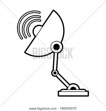 sketch silhouette image satellite antenna communication element vector illustration