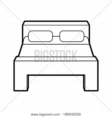 sketch silhouette image matrimonial bed with cover and pillows vector illustration