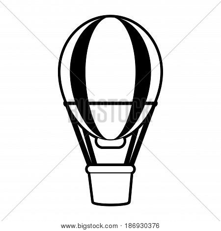 sketch silhouette image striped hot air balloon with basket vector illustration