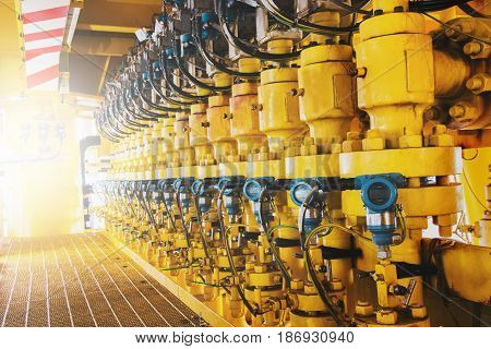 Flowline production and control valve for oil and gas process Petroleum construction on offshore wellhead remote platform Energy and petroleum industry offshore oil and gas or Petroleum is major of world.