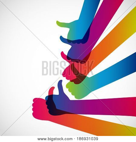 Hands with thumb up, like social media background, web network symbol, finger sign, icon design illustration.