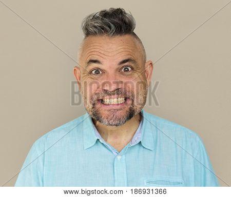 Caucasian Man Happy Cheerful Smiling