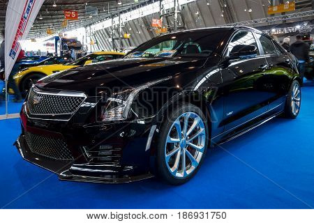 STUTTGART GERMANY - MARCH 03 2017: Entry-level luxury car Cadillac ATS-V 2016. Europe's greatest classic car exhibition