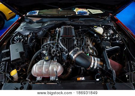 STUTTGART GERMANY - MARCH 03 2017: Engine of the Ford Mustang GT V8 Supercharged 2017. Close-up. Europe's greatest classic car exhibition