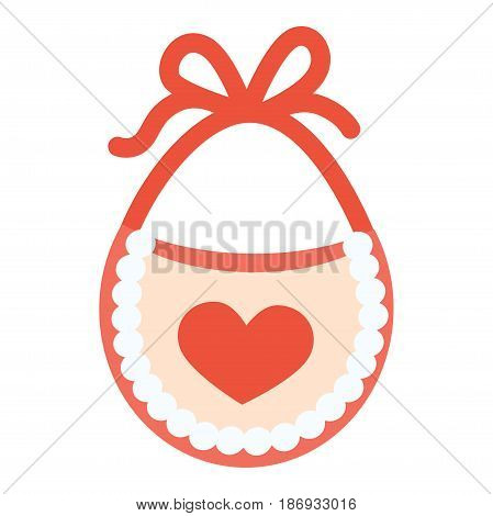 Baby bib with red heart vector illustration isolated on white background. Piece of cloth fastened around enfant neck to keep clothes clean while eating. Apron for housewife in flat cartoon design