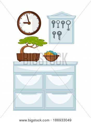 Glossy chest of drawers with green bonsai tree in pot and decorative bowl on it, wooden round wall clocks and big keys holder in form of house isolated vector illustrations on white background.