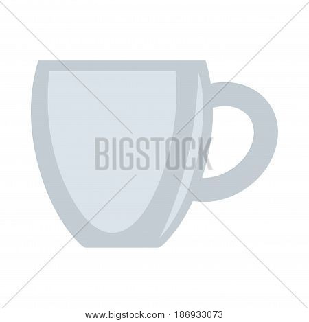Ceramic grey cup vector illustration isolated on white background. Tea or coffee mug in flat design cartoon style. Vessel with handle for hot drinks and beverages, kitchen utensils item accessory