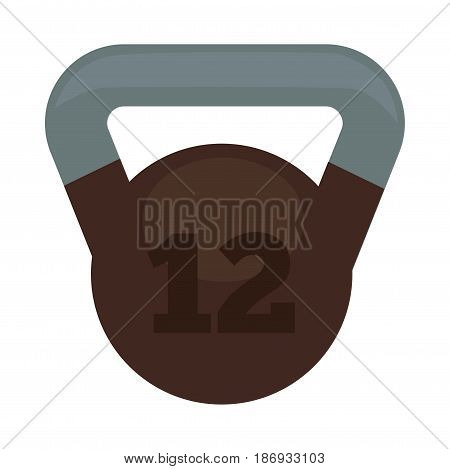 Weight with 12 kg in brown and grey colors isolated on white. Vector illustration in flat design of heavy thing for sportsmen to make muscles bigger and stronger. Healthy lifestyle template.