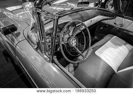 STUTTGART GERMANY - MARCH 03 2017: Interior of a full-size car Edsel Pacer Convertible 1958. Black and white. Europe's greatest classic car exhibition