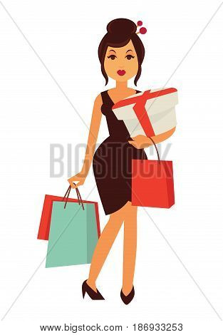 Woman with topknot, dressed in skinny brown dress and stiletto shoes holds colorful shopping bags and box with red ribbon isolated vector illustration on white background. Lady on shopping concept