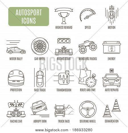 Autosport  Icons. Set Of Vector Pictogram