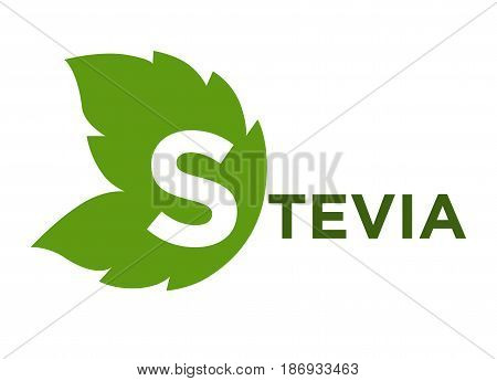 Stevia rebaudiana green leaf with inscription near isolated on white. Greenish herbal product that is sweetener and substitutes sugar. Healthy herb eating template vector illustration in flat design