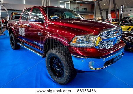 STUTTGART GERMANY - MARCH 03 2017: Full-size pickup truck Dodge Ram 1500 Laramie Crew CAB 2017. Europe's greatest classic car exhibition