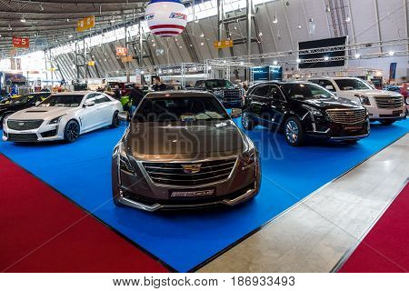 STUTTGART GERMANY - MARCH 03 2017: Stand with modern American cars. In the foreground Cadillac CT6 AWD 2016. Europe's greatest classic car exhibition