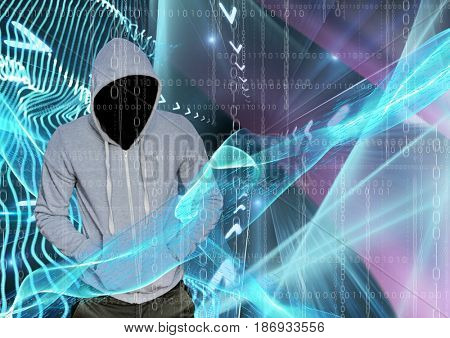 Digital composite of Grey jumper hacker with out face with his hands on his pockets, blue and pink lights and binary code