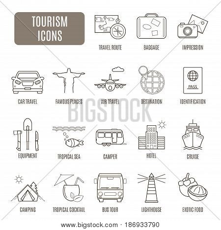Tourism Icons. Set Of Vector Pictogram