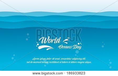 World ocean day background vector flat collection stock