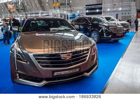 STUTTGART GERMANY - MARCH 03 2017: Full-size luxury car Cadillac CT6 AWD 2016. Europe's greatest classic car exhibition