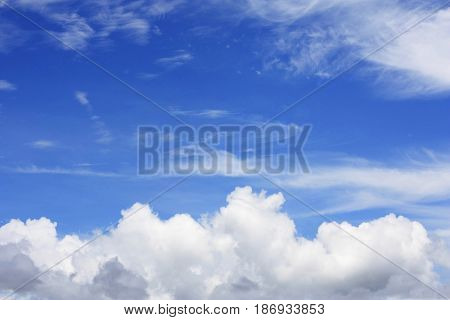 blue sky with clouds mainly in the foreground