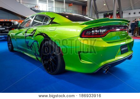 STUTTGART GERMANY - MARCH 03 2017: Muscle car Dodge Charger SRT-8 2010. Europe's greatest classic car exhibition