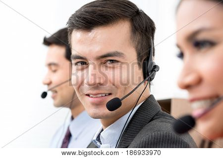 Business people wearing microphone headset - telemarketing operator call center and customer service concepts