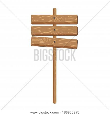 Three wooden signs attached on stick isolated on white background. Advertisement posters for advertising, ancient billboards. Vector illustration of route symbols. Blank planks on tree stump