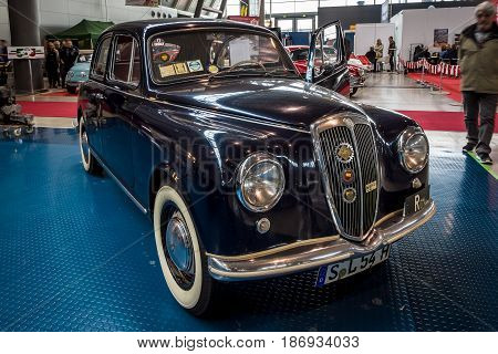 STUTTGART GERMANY - MARCH 03 2017: The small family car Lancia Appia Berlina first series 1954. Europe's greatest classic car exhibition