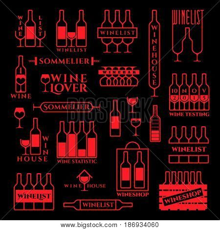Set of elements and template design logo label emblem icon symbol for menu bar restaurant wine list vineyard and everything related to wine. Vector illustration.