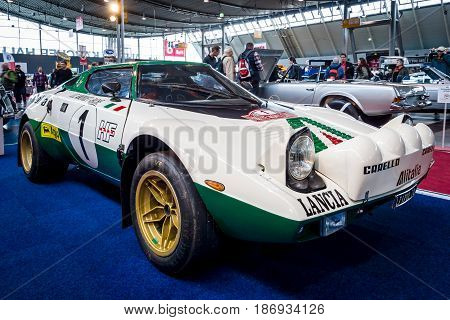 STUTTGART GERMANY - MARCH 03 2017: Sports and rally car Lancia Stratos HF (Tipo 829) 1975. Europe's greatest classic car exhibition