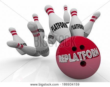 Replatform Website Ecommerce New Platform Change Bowling 3d Illustration