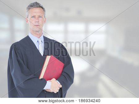 Digital composite of Judge holding book in front of white office