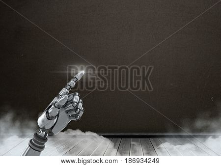 Digital composite of Android Robot hand pointing with dark blackboard background