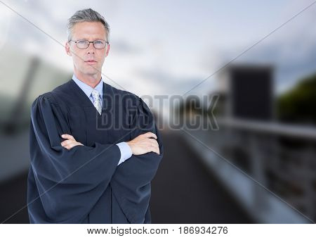 Digital composite of Judge in front of bridge