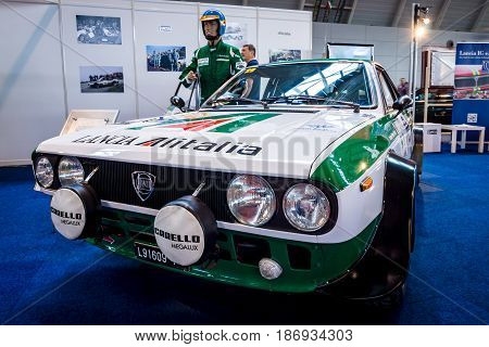 STUTTGART GERMANY - MARCH 03 2017: Sports and rally car Lancia Beta Coupe The 1800 Rally Group 4 (Type 828) 1975. Europe's greatest classic car exhibition