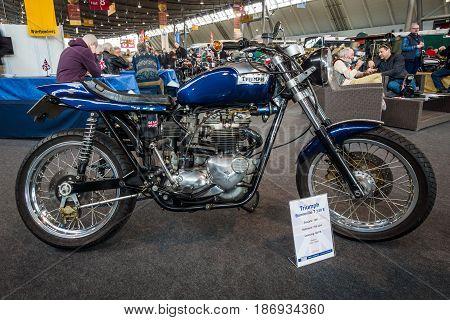 STUTTGART GERMANY - MARCH 03 2017: The motorcycle Triumph Bonneville T140E 1981. Europe's greatest classic car exhibition
