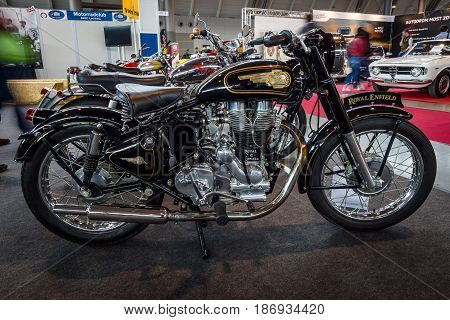 STUTTGART GERMANY - MARCH 03 2017: The motorcycle Royal Enfield Bullet 500 Classic. Europe's greatest classic car exhibition