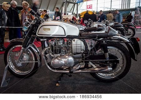 STUTTGART GERMANY - MARCH 03 2017: The motorcycle Triumph Triton 1964. Europe's greatest classic car exhibition