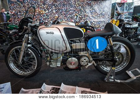 STUTTGART GERMANY - MARCH 03 2017: The motorcycle Norton F Type 1954. Europe's greatest classic car exhibition