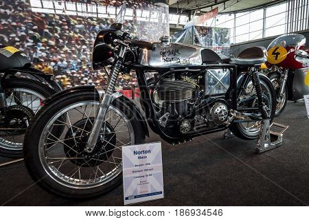 STUTTGART GERMANY - MARCH 03 2017: Racing motorcycle Norton Manx 1958. Europe's greatest classic car exhibition