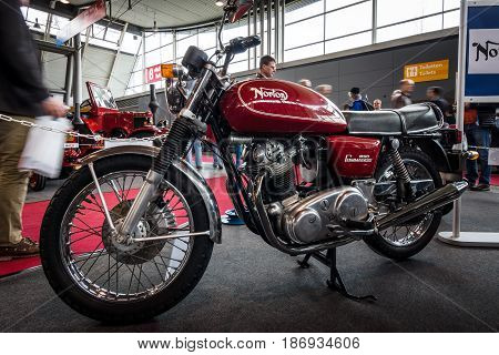 STUTTGART GERMANY - MARCH 03 2017: Motorcycle Norton Commando 850 1973. Europe's greatest classic car exhibition