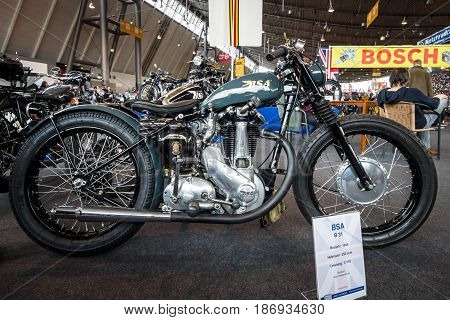 STUTTGART GERMANY - MARCH 03 2017: Motorcycle BSA B31 1946. Europe's greatest classic car exhibition