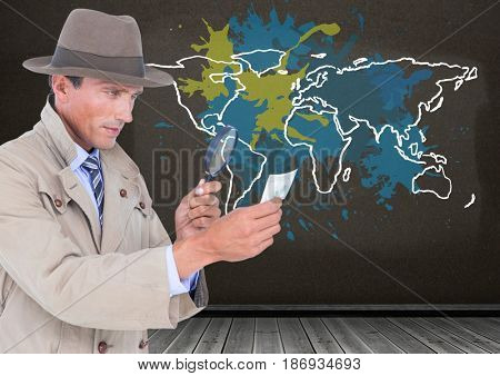 Digital composite of Detective looking through magnifying class with Colorful Map with paint splattered wall background