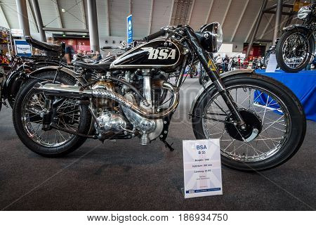STUTTGART GERMANY - MARCH 03 2017: Motorcycle BSA B33 1950. Europe's greatest classic car exhibition