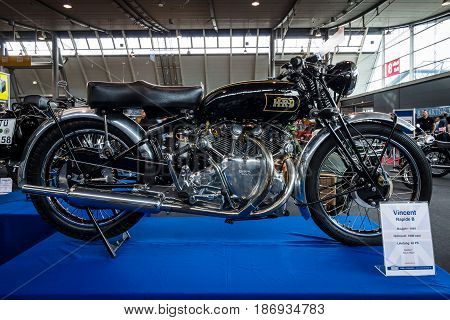 STUTTGART GERMANY - MARCH 03 2017: Motorcycle Vincent Rapide B 1949. Europe's greatest classic car exhibition