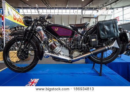 STUTTGART GERMANY - MARCH 03 2017: Motorcycle Scott Flying Squirrel 1930. Europe's greatest classic car exhibition