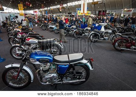 STUTTGART GERMANY - MARCH 03 2017: Exhibition pavilion with various motorcycles. Europe's greatest classic car exhibition